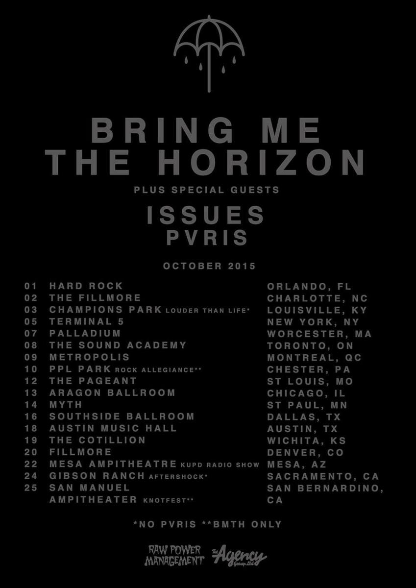 Bring Me The Horizon announces tour dates with special guests PVRIS and Issues