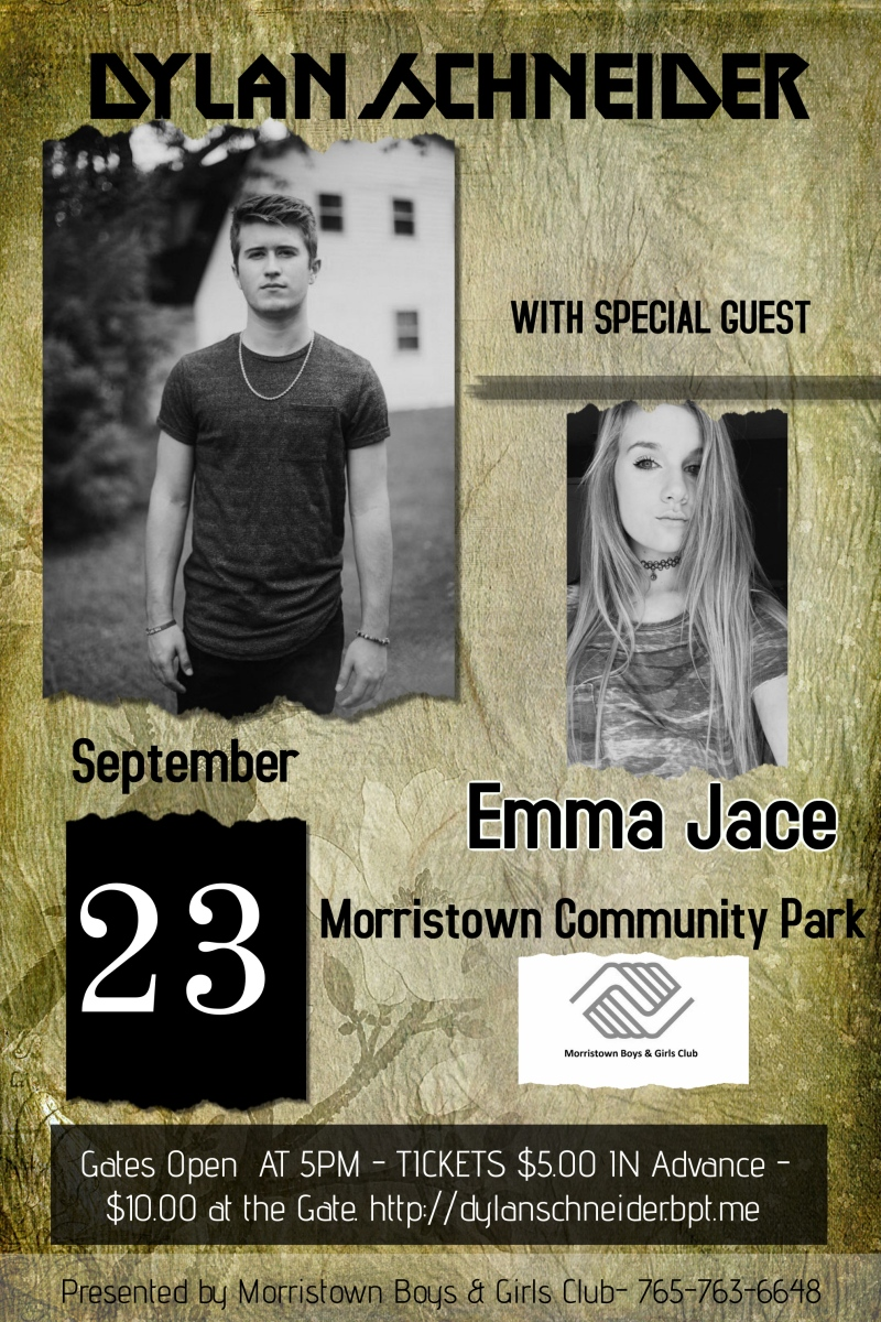 Dylan Schneider with guest Emma Jace set to perform September 23rd in Morristown, IN